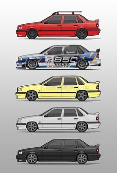 Stack of Volvo 850R 854R T5 Turbo Saloon Sedans by Tom Mayer