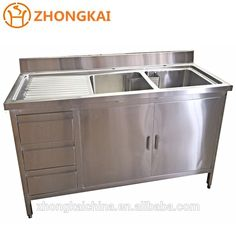 Hot Sell China Binzhou COMMERCIAL STAINLESS STEEL DOUBLE SINK CABINET WITH CUPBOARD AND DRAWERS LHD Wholesale