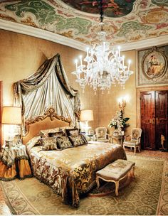 Venice Palazzo of Walid and Christina Juffali. The Master Bedroom