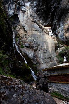 Tiger's Nest Monastery, Paro, Bhutan. A waterfall on the approach to the monastery.