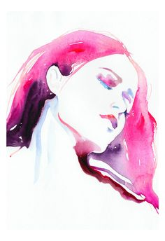 I love water color faces. Fashion Illustration Watercolor Print 13 x 19 by silverridgestudio. $150.00, via Etsy.