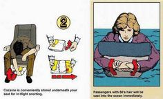 In Flight Safety Manual - Jokes Etc - Nairaland --- These manuals found on airplanes are great examples of information graphics because they give passengers information in case of emergency they can follow the photos.