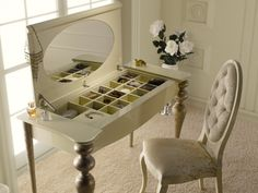 Coiffeuse avec miroir et compartiment bijoux.Mod PA9615 Console, Decoration, Vanity, Mirror, Bedroom, Design, Furniture, Home Decor, Houses