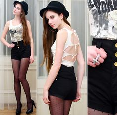 Ariadna Majewska - H&M Gold Earrings, Black Tights, Mohito Black Hat, Tally Weijl White Top, River Island Black High Waisted Shorts, Embis Black Heels, Double Cross Ring - Closer I get to you | LOOKBOOK