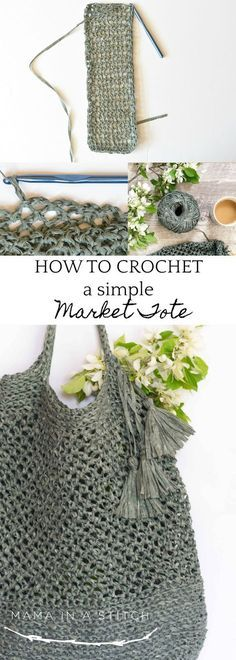 "How To Crochet A Market Tote ""Palmetto Tote Pattern"" via @MamaInAStitch This beginner friendly crochet pattern is so pretty and easy to follow! There's a picture tutorial as well. You'll even find links to stitch pattern videos."