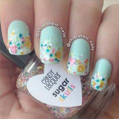 robin egg blue nails with rainbow glitter pastels