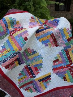 Offset log cabin quilt by PLUMBLOSSOMSetc on Etsy, $80.00