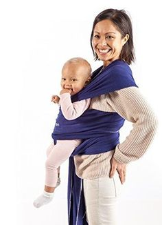Mom Baby Wrap (Royal Blue) - Ultra Soft Infant Sling Child Carrier Keeps Your Baby Comfortable & Safe - 4 Different Carries - Cotton/Spandex Stretchy Wrap