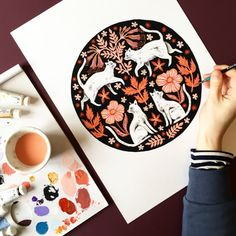 Gouache and watercolour painting of cats by illustrator Zanna Goldhawk for Papio Press, in a folk style circle.