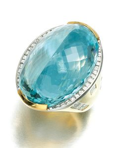 AQUAMARINE AND DIAMOND RING.  Set to the centre with an oval mixed-cut aquamarine, the wide band set with baguette and square diamonds, size Q, sizing band.