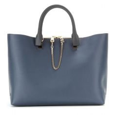 Chloé Baylee Medium Two-Tone Leather Tote ($1,860) ❤ liked on Polyvore featuring bags, handbags, tote bags, purses, bolsas, accessories, blue, leather purse, leather tote bags and blue leather tote