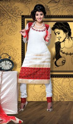 Natassha Off White Velvet Georgette Churidar Suit Make your dawn to dusky look dressed in this Natassha off white velvet georgette churidar suit. The ethnic resham work with the dress adds a sign of attractiveness statement with a look. #GeorgetteChuridarSuit #BeautifulGeorgetteChuridar