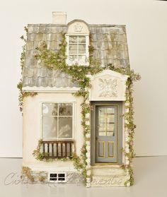 Here is my first dollhouse of I call it La Vie En Rose custom dollhouse. It& a peachy pink color. It& not showing up very well in mo. Putz Houses, Fairy Houses, Popsicle Stick Crafts, Craft Stick Crafts, Miniature Houses, Miniature Dolls, Diy Doll Miniatures, Cinderella Moments, Mini Doll House