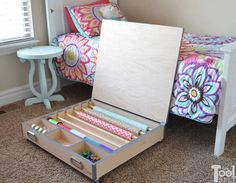 Closet space is very limited at my house, so I hate to waste it with bulky gift wrap supplies. This hideaway gift wrap center rolls under the bed. Organize up to 6 large rolls of wrapping paper and/or ribbons, tulle, scissors, bows, tape, etc. Run the paper thru the back and wrap on the large top.