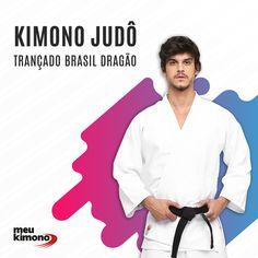 14fa25ded Kimono Judo Branco Trançado Brasil Dragão - Adulto  Meukimono  kimono   kimonobranco  kimonobrancodragão