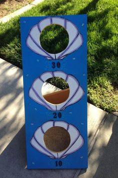 Under The Sea, Bean Bag Toss game, game board, Shell toss, party game.