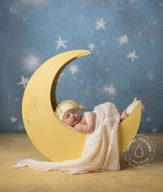 The Original - Newborn Photography Prop Moon, Moon Photo Prop, Wood Moon Prop. $195.00, via Etsy.