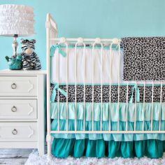 Caden Lane Baby Bedding - LOVE LOVE LOVE the aqua ruffle crib skirt with silver leopard sheet! Perfect for a aqua girl nursery!