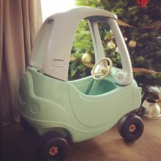 Spray painted baby car. diy little tikes car restored mint