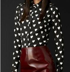 ST877 New Fashion Ladies' sweet hearts print blouse elegant long sleeve stylish Shirt casual slim brand designer tops-in Blouses & Shirts fr...