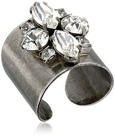 "Sorrelli ""Clear Crystal"" Flower Navette Cuff Ring, Size 7..."