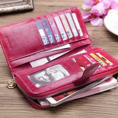 Women Genuine Leather Wallet Clutch Purse Long Handbag Card Holder Checkbook