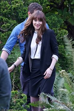 Happily married: Fifty Shades Darker will give a glimpse into the early life of Mr and Mrs Grey as Dakota Johnson and Jamie Dornan were pictured filming scenes as the happily married couple