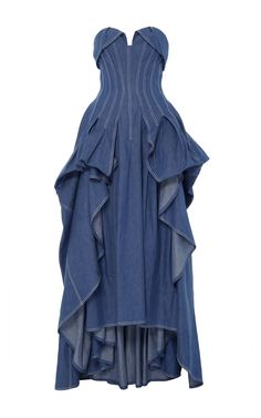 Rendered in cotton, this **Carolina Herrera** dress features a ball gown styled silhouette, contrast stitching, and an overlay detail on a sweetheart neckline. Denim Fashion, Fashion Outfits, Denim Corset, Denim Ideas, Unique Fashion, Fashion Design, Jeans Denim, Denim Outfit, Party Dresses