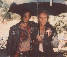 Bill Paxton and Lance Henriksen on the set of Near Dark.