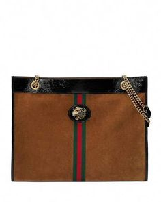 908ddec77c48 Get free shipping on Gucci Linea Tiger Large Suede Shoulder Tote Bag with  Patent Trim at