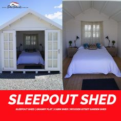 Sleepout Shed This beautiful wooden cabin or shed could be rented to friends or family or you could use it at a campground or for backpackers. Add to basket>>> https://goo.gl/u2aZvH #GardenSheds #GardenShedsAustralia #SheShed #ShabbyChic #Cubbyhouse