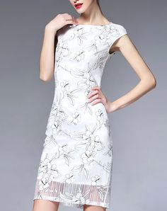 White Lace Floral Print Slim Fit Mini Dress