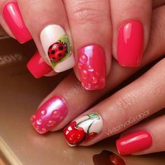 Amazing Fruit Theme Nail Arts In 2019 - Page 20 of 101 - PinningFashionPinningFashion Pink Tip Nails, Shellac Nails, Love Nails, Red Nails, Manicure And Pedicure, Pretty Nails, Hair And Nails, Yellow Nail Art, Gel Nails French