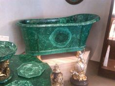 Malachite tub and table