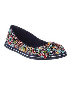 Another great find on #zulily! Navy & Red Frida Floral Whisk Flat #zulilyfinds