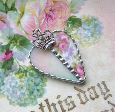 Queen of Hearts - Vintage China - Pink Roses - Violets - Iridescent Glass Heart Necklace