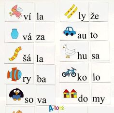 sada 56 zalaminovaných kartiček pro skládání slov ze slabik. Skvělá pomůcka pro slabikování, které je základem učiva českého jazyka a čtení v první třídě na většině ZŠ. Úkolem je poskládat správně slova podle obrázků ze slabik (ale dítě může zkusit složit i jiná ...