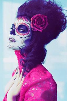 pink and black sugar skull makeup