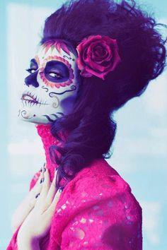 pink and black sugar skull makeup