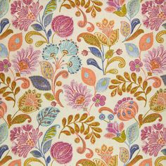 Fabric Patterns Bittersweet Pink Orange Teal Blue Floral Cotton Made in USA Upholstery Fabric Floral Chair, Floral Fabric, Pink Fabric, Fabric Patterns, Print Patterns, Sewing Patterns, Floral Patterns, Accent Chairs For Sale, Greenhouse Fabrics