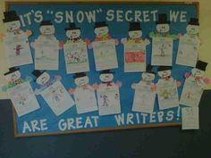 "Winter Writing Bulletin Board It's ""Snow"" secret we love learning Inspirational Bulletin Boards, December Bulletin Boards, Writing Bulletin Boards, Holiday Bulletin Boards, Elementary Bulletin Boards, Kindergarten Bulletin Boards, Halloween Bulletin Boards, Birthday Bulletin Boards, Spring Bulletin Boards"