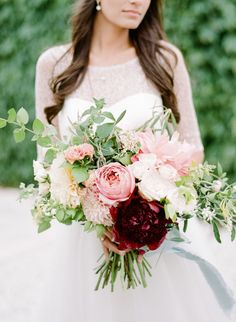 Bold peony and dahlia wedding bouquet: http://www.stylemepretty.com/2016/02/02/40-valentines-day-bouquets-to-inspire-your-beau/ Photography: Rebecca Yale - http://rebeccayalephotography.com/