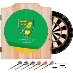 Premier League Norwich City Dart Cabinet Includes Darts And Board,  Multicolor