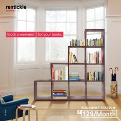 """A bookshelf is as particular to its owner as are his or her clothes; a personality is stamped on a library just as a shoe is shaped by the foot."""" - Alan Bennett.  Get home a beautiful bookshelf and give your books a home of their own!  Rent Now -   Thinking of Renting. Think of Rentickle! . . . #interiordesign #interiordesigning #livingroomdecor #bookshelf #bookshelves #homefurniture #furnitureonrent #rentickle #homeinteriors #homefurniture  #moderndesign"""