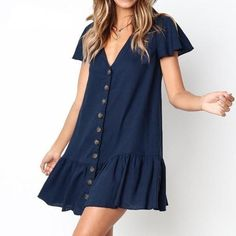 V-Ausschnitt Single Breasted Plain Kurzarm Mini Casual Kleider - Outfits Simple Dress Casual, Simple Dresses, Cute Dresses, Short Sleeve Dresses, Dresses With Sleeves, Mini Dresses, Awesome Dresses, Short Casual Dresses, Elegant Dresses