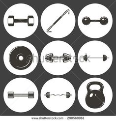 Set of sign weights for fitness or gym icons. Vector EPS8 illustration.