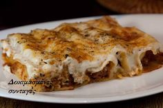 meat cannelloni with bechamel sauce pasta Beef Recipes, Bechamel Sauce, Greek Cooking, Pasta, Allrecipes, Lasagna, Spaghetti, Food And Drink, Lasagne