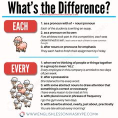 Difference between EVERY and EACH & Learn English Grammar Rules - grammar activities grammar errors grammar games grammar humor grammar police grammar rules English Grammar Tenses, Teaching English Grammar, English Sentences, English Writing Skills, English Phrases, Learn English Words, English Language Learning, English Lessons, French Lessons