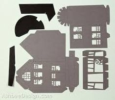 Image result for pattern for paper haunted house