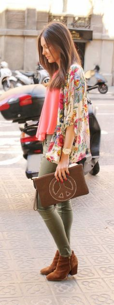 Floral Kimono Cardigan With Olive and Ankle Brown Booties